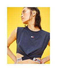 Tommy Hilfiger Blue Crossover Waistband Top