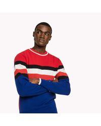 Tommy Hilfiger Red Cotton Stripe Sweatshirt for men