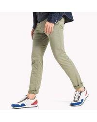 Tommy Hilfiger Green Twill Slim Fit Chinos for men