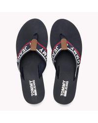 Tommy Hilfiger Blue Colour-blocked Mid Heel Flip-flops