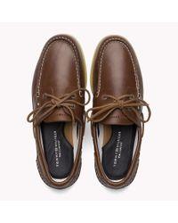 Tommy Hilfiger Brown Leather Boat Shoes for men