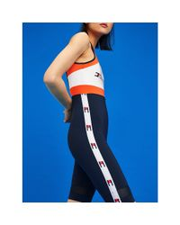 Tommy Hilfiger Blue Colour-blocked Flag Tape One-piece