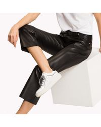 Tommy Hilfiger Black Leather Trousers