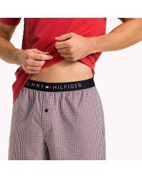 Tommy Hilfiger Red Woven Cotton Pyjama Set for men