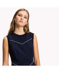 Tommy Hilfiger Blue Fitted Cotton Dress