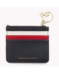 Tommy Hilfiger Blue Stripe Leather Zip Cardholder
