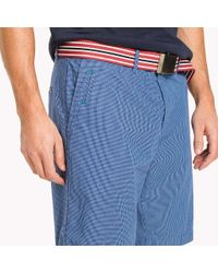 Tommy Hilfiger Blue Regular Fit Micro Check Shorts for men