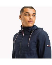 Tommy Hilfiger Blue Cotton Canvas Zipped Anorak for men