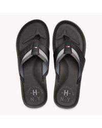 Tommy Hilfiger Black Leather Look Flip-flops for men