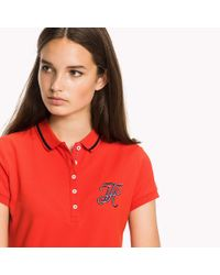 Tommy Hilfiger Red Fitted Heritage Stripe Polo