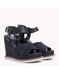 Tommy Hilfiger Blue Elastic Strap Wedge Heels
