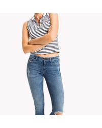 Tommy Hilfiger Blue Distressed Mid Rise Skinny Fit Jeans