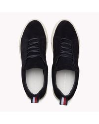 Tommy Hilfiger Blue Suede Cupsole Lace-up Trainers for men