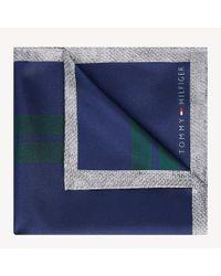 Tommy Hilfiger Blue Pure Silk Stripe Pocket Square for men