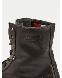 Bottines à lacets en cuir Tommy Hilfiger pour homme en coloris Black