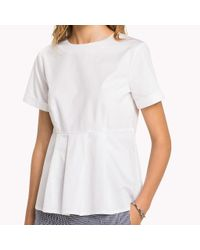 Tommy Hilfiger White Pleated Cotton Top