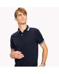 Tommy Hilfiger Blue Stripe Collar Slim Fit Polo Shirt for men