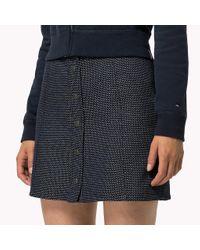 Tommy Hilfiger Blue Cotton Dobby Skirt