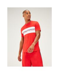 Tommy Hilfiger Red Tommy Sport Logo T-shirt for men