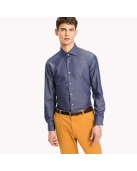Tommy Hilfiger Blue Cotton Twill Fitted Shirt for men