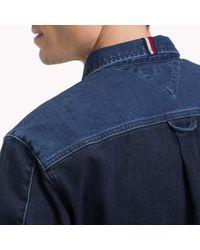 Tommy Hilfiger Blue Patchwork Denim Shirt for men