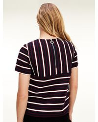 Tommy Hilfiger Viscose Textured Stripe Zip T-shirt