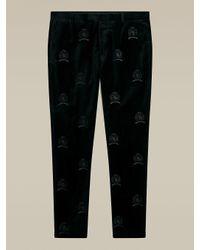 Tommy Hilfiger Black Crest Embroidery Slim Fit Velvet Trousers for men