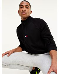 Tommy Hilfiger Vochtafvoerend Fleece Sweatshirt Met Troyerkraag in het Black voor heren
