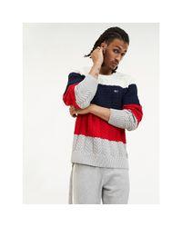 Tommy Hilfiger Red Colour-blocked Contrast Knit Jumper for men