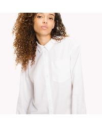 Tommy Hilfiger White Oxford Cotton Boyfriend Shirt