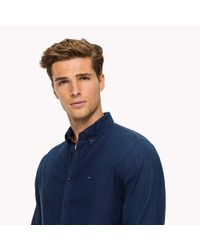 Tommy Hilfiger Blue Double Cloth Cotton Shirt for men