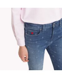 Tommy Hilfiger Blue Faded Heart Cropped Jeans