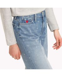 Tommy Hilfiger Blue Heart Print Cropped Jeans