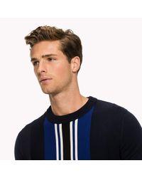 Tommy Hilfiger Blue Vertical Centre Stripe Jumper for men