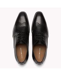 Tommy Hilfiger Black Leather Wingtip Shoes for men