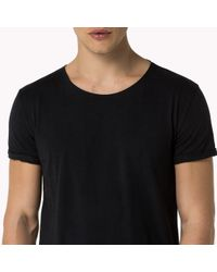 Tommy Hilfiger - Black Cotton Jersey Knit Top for Men - Lyst