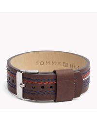 Tommy Hilfiger | Brown Leather Strap Bracelet for Men | Lyst