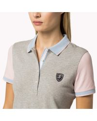 Tommy Hilfiger Gray Cotton Color Block Polo