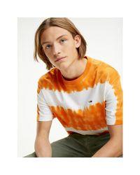 Tommy Hilfiger Orange Organic Cotton Tie Dye Stripe T-shirt for men