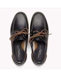 Tommy Hilfiger Blue Leather Boat Shoes for men