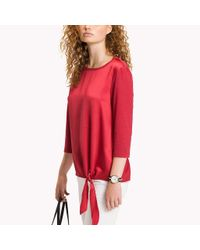 Tommy Hilfiger Red Side-tie Sheen Top