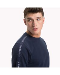 Tommy Hilfiger Blue Logo Tape Sweatshirt for men