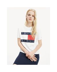 Tommy Hilfiger White Tommy Flag Print Cropped Fit T-shirt
