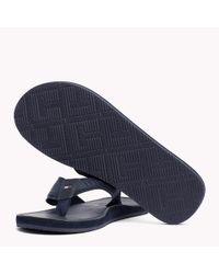 Tommy Hilfiger Blue Leather Flip-flops for men