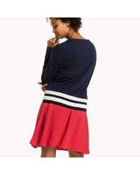 Tommy Hilfiger - Blue Striped Hem Sweatshirt - Lyst