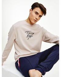 Tommy Hilfiger Natural Signature Logo Stretch Organic Cotton Sweatshirt for men