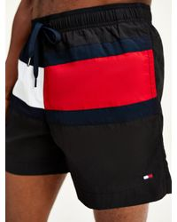 Tommy Hilfiger Black Colour-blocked Mid Length Swim Shorts for men