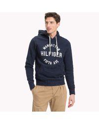 Tommy Hilfiger Blue Logo Print Hoodie for men