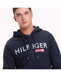 Tommy Hilfiger Blue Racing Badge Zip Thru Hoodie for men