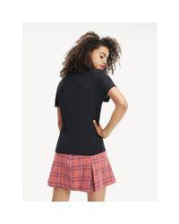Tommy Hilfiger Black Textured Rib-knit T-shirt